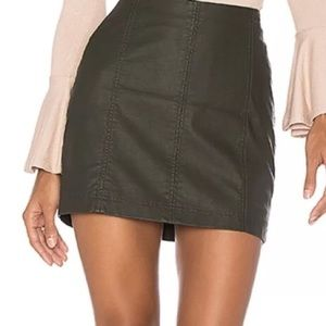 free people green leather skirt